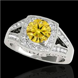 1.65 CTW Certified Si/I Fancy Intense Yellow Diamond Solitaire Halo Ring 10K White Gold - REF-289M3H
