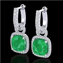 6 CTW Emerald & Micro Pave VS/SI Diamond Earrings 18K White Gold - REF-125M5H - 22961