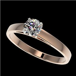 0.50 CTW Certified H-SI/I Quality Diamond Solitaire Engagement Ring 10K Rose Gold - REF-54H2A - 3295