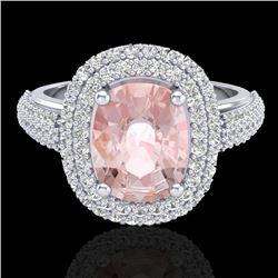 3.25 CTW Morganite & Micro Pave VS/SI Diamond Halo Ring 18K White Gold - REF-148H9A - 20720