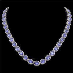 48.65 CTW Tanzanite & Diamond Halo Necklace 10K White Gold - REF-797K3W - 40562