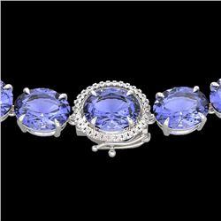 170 CTW Tanzanite & VS/SI Diamond Halo Micro Eternity Necklace 14K White Gold - REF-3163T6M - 22317