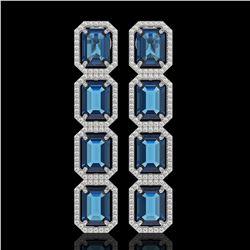 18.99 CTW London Topaz & Diamond Halo Earrings 10K White Gold - REF-184H4A - 41606