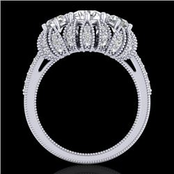 2.26 CTW VS/SI Diamond Art Deco Micro Pave 3 Stone Ring Band 18K White Gold - REF-345M5H - 37001