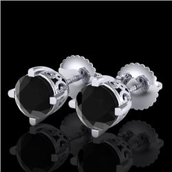 1.5 CTW Fancy Black Diamond Solitaire Art Deco Stud Earrings 18K White Gold - REF-70A9X - 38066