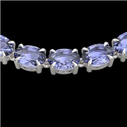 56 CTW Tanzanite Eternity Designer Inspired Tennis Necklace 14K White Gold - REF-631N3Y - 23409