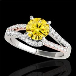 1.65 CTW Certified Si Intense Yellow Diamond Solitaire Ring 10K White & Rose Gold - REF-218M2H - 353