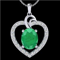 4 CTW Emerald & VS/SI Diamond Designer Inspired Heart Necklace 14K White Gold - REF-81Y8K - 20492
