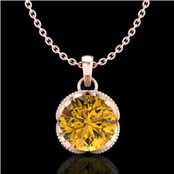 1.13 CTW Intense Fancy Yellow Diamond Art Deco Stud Necklace 18K Rose Gold - REF-136H4A - 37428