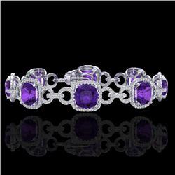 30 CTW Amethyst & Micro VS/SI Diamond Bracelet 14K White Gold - REF-368W9F - 23015