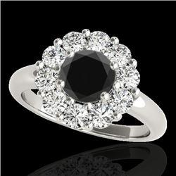 2.09 CTW Certified VS Black Diamond Solitaire Halo Ring 10K White Gold - REF-109M3H - 34426