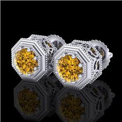 1.07 CTW Intense Fancy Yellow Diamond Art Deco Stud Earrings 18K White Gold - REF-132F8N - 37938