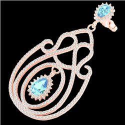 6.40 CTW Topaz & Micro Pave VS/SI Diamond Designer Earrings 14K Rose Gold - REF-303H5A - 22432