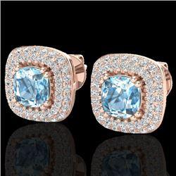 2.16 CTW Sky Blue Topaz & Micro VS/SI Diamond Earrings Halo 14K Rose Gold - REF-86X9T - 20335