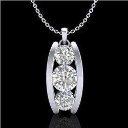 1.07 CTW VS/SI Diamond Solitaire Art Deco Stud Necklace 18K White Gold - REF-158X2T - 37013