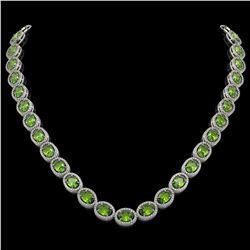 48.14 CTW Peridot & Diamond Halo Necklace 10K White Gold - REF-756A5X - 40580