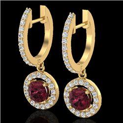 1.75 CTW Garnet & Micro Halo VS/SI Diamond Earrings 18K Yellow Gold - REF-82K8W - 23258