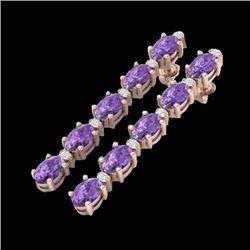 15.47 CTW Amethyst & VS/SI Certified Diamond Tennis Earrings 10K Rose Gold - REF-75K6W - 29470
