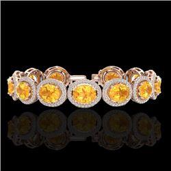 24 CTW Citrine & Micro Pave VS/SI Diamond Bracelet 10K Rose Gold - REF-360A2X - 22684
