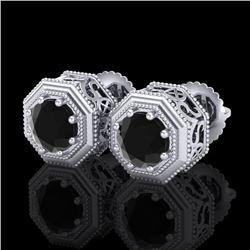 1.07 CTW Fancy Black Diamond Solitaire Art Deco Stud Earrings 18K White Gold - REF-72W8F - 37933
