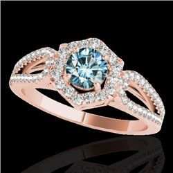 1.43 CTW Si Certified Fancy Blue Diamond Solitaire Halo Ring 10K Rose Gold - REF-176X4T - 34022