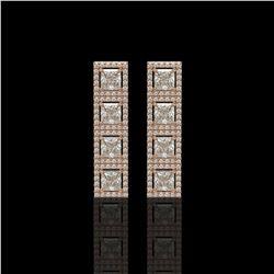 5.31 CTW Princess Diamond Designer Earrings 18K Rose Gold - REF-978M4H - 42639