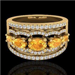 2.25 CTW Citrine & Micro Pave VS/SI Diamond Designer Ring 10K Yellow Gold - REF-71X8T - 20799