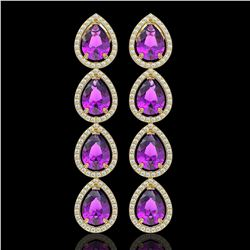 10.85 CTW Amethyst & Diamond Halo Earrings 10K Yellow Gold - REF-154K2W - 41323