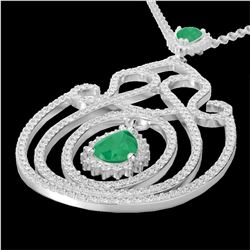 3.20 CTW Emerald & Micro Pave VS/SI Diamond Heart Necklace 14K White Gold - REF-162F4N - 22437