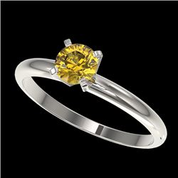 0.50 CTW Certified Intense Yellow SI Diamond Solitaire Engagement Ring 10K White Gold - REF-58K2W -