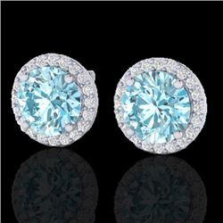 4 CTW Sky Blue Topaz & Halo VS/SI Diamond Micro Earrings Solitaire 18K White Gold - REF-65X8T - 2148