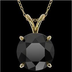 2.50 CTW Fancy Black VS Diamond Solitaire Necklace 10K Yellow Gold - REF-55X5T - 33245
