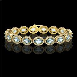 24.32 CTW Sky Topaz & Diamond Halo Bracelet 10K Yellow Gold - REF-248K9W - 40633