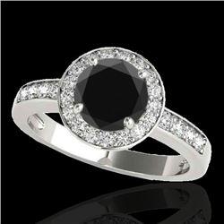 1.4 CTW Certified VS Black Diamond Solitaire Halo Ring 10K White Gold - REF-67Y8K - 34345