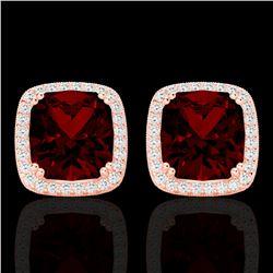 6 CTW Garnet & Micro Pave VS/SI Diamond Halo Solitaire Earrings 14K Rose Gold - REF-65W5F - 22804