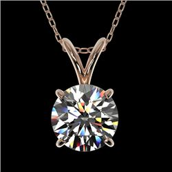 1 CTW Certified H-SI/I Quality Diamond Solitaire Necklace 10K Rose Gold - REF-147F2N - 33183