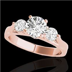 1.5 CTW H-SI/I Certified Diamond 3 Stone Solitaire Ring 10K Rose Gold - REF-180Y2K - 35368