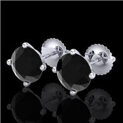 3.01 CTW Fancy Black Diamond Solitaire Art Deco Stud Earrings 18K White Gold - REF-120N2Y - 38255