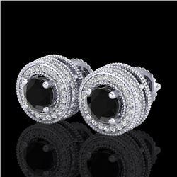 2.09 CTW Fancy Black Diamond Solitaire Art Deco Stud Earrings 18K White Gold - REF-154W5F - 38010
