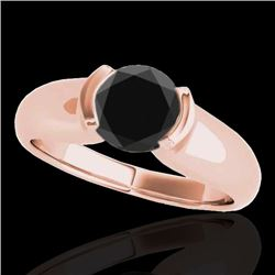 1 CTW Certified VS Black Diamond Solitaire Ring 10K Rose Gold - REF-61F8N - 35177