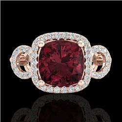 3.75 CTW Garnet & Micro VS/SI Diamond Ring 14K Rose Gold - REF-54W9F - 23004