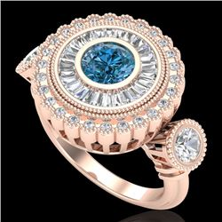 2.62 CTW Intense Blue Diamond Solitaire Art Deco 3 Stone Ring 18K Rose Gold - REF-290Y9K - 37923