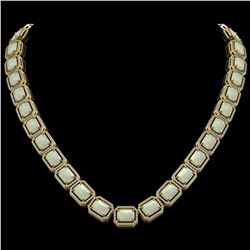 53.59 CTW Opal & Diamond Halo Necklace 10K Yellow Gold - REF-816H2A - 41491