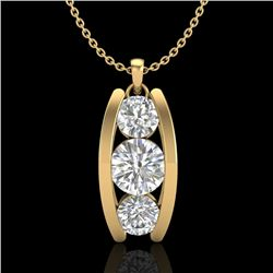 1.07 CTW VS/SI Diamond Art Deco Stud Necklace 18K Yellow Gold - REF-158N2Y - 37015