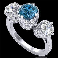 3.06 CTW Fancy Intense Blue Diamond Art Deco 3 Stone Ring 18K White Gold - REF-390Y9K - 37390