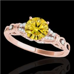 1.2 CTW Certified Si/I Fancy Intense Yellow Diamond Solitaire Ring 10K Rose Gold - REF-209W3F - 3525