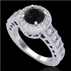 1.53 CTW Fancy Black Diamond Solitaire Engagement Art Deco Ring 18K White Gold - REF-161W8F - 37646