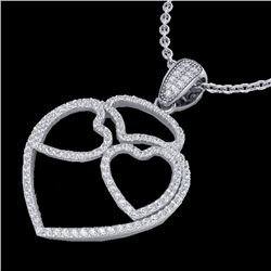 1.20 CTW Micro Pave VS/SI Diamond Designer Heart Necklace 14K White Gold - REF-110X9T - 22546