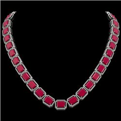 84.94 CTW Ruby & Diamond Halo Necklace 10K White Gold - REF-930T2M - 41477