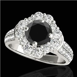 2.16 CTW Certified VS Black Diamond Solitaire Halo Ring 10K White Gold - REF-112Y4K - 33952